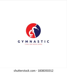 Silhouette Gymnast Exercising Bundle Isolated Circle Vector Logo Design