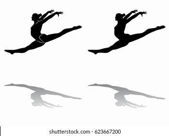silhouette of a gymnast woman, black and white drawing, white background