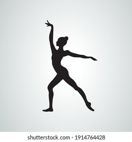 Silhouette of gymnastic girl. Art gymnastics, black and white vector illustration