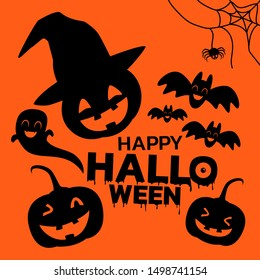 Silhouette of Halloween characters icon, Black Halloween characters on orange background with happy Halloween text.
