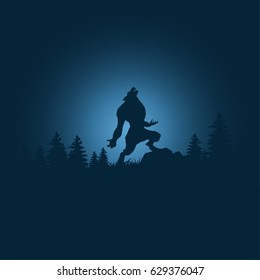 Silhouette halloween night background with werewolf.Vector illustration.