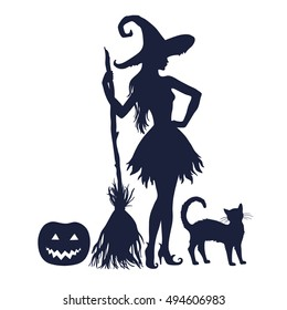 Silhouette of halloween witch with broom and cat, vector illustration isolated on white background.