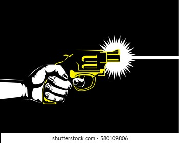 Silhouette hand holding gun to shoot out.