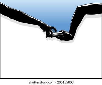 silhouette of a hand off in a track relay race. The bottom is framed. Above the hands is a graduated blue sky.
