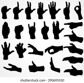 silhouette hand set / vector illustration
