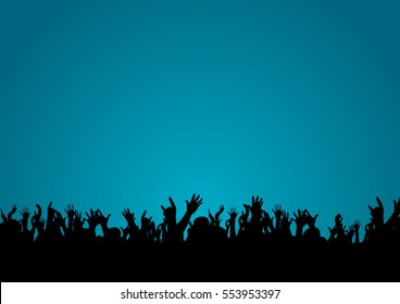 silhouette of hands at a concert. vector illustration