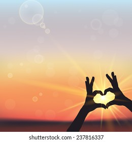 Silhouette of  hands in form of heart shape in the sky with sunset rays. Vector illustration