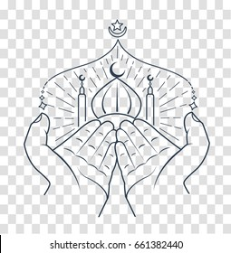 silhouette  of hands praying namaz (Muslim's Prayer) infront of mosque. Icon in the linear style