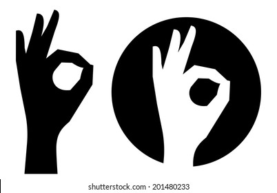 Silhouette of hands showing symbol of all ok