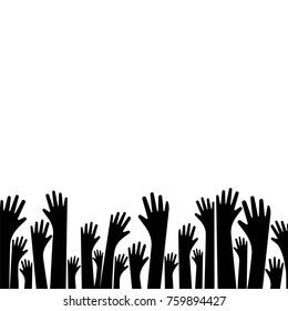 Silhouette hands up vector illustration