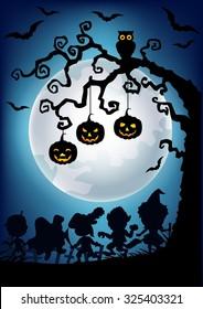 Silhouette of Hanging halloween pumpkin tree and little kids