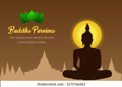 silhouette happy buddha purnima monk phra buddha pray concentration composed release front of pho leaf religion culture faith vector illustration eps10