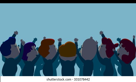 Silhouette of happy business people clapping hands, applauding, cheering, shouting. Isolated object cartoon standing crowd characters set. Workers attending company's year end party event.