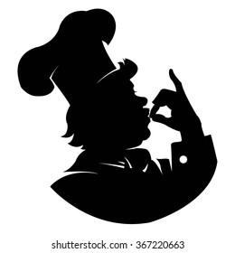silhouette of a happy chef in profile