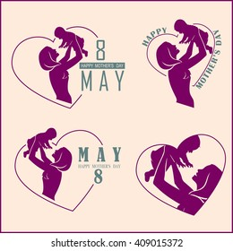 Silhouette Happy Mother and Baby. Happy mothers day logo set. Vector illustration.