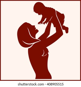 Silhouette Happy Mother and Baby. Vector illustration.