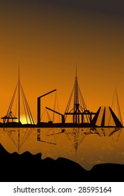 Silhouette of a harbor with reflection in water