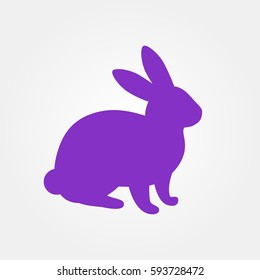 Silhouette of hare. Purple bunny silhouette on a white background.