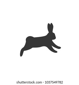 silhouette of hare, rabbits, ears, black, white, vector illustration, flat silhouette