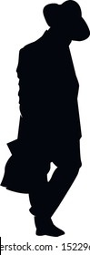 Silhouette of a Hasidic Jew walking with his head bowed. Religious Jew in a traditional costume. The man in the hat. Isolated vector illustration black and white color.