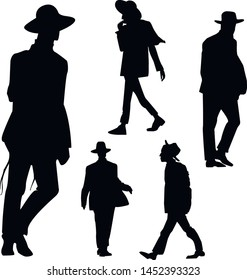 Silhouette of Hasidic Jews. Religious Jews go to the synagogue. Selection of silhouettes of believing Jews Hasidim. Isolated vector illustration Black on white.