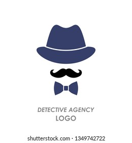 silhouette hat, mustache, bow tie, logo detective agency. flat vector illustration isolated on white background