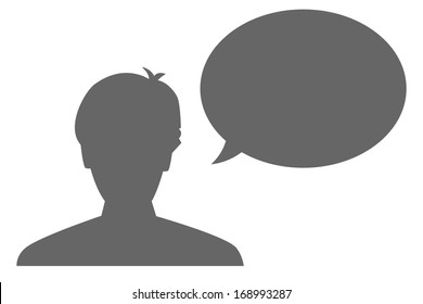The silhouette of a head and blank bubble / The man and bubble / the communication