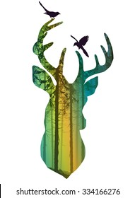 Silhouette of a head of a deer with birds. Inside the pine forest. Bright colored vector illustration, white background