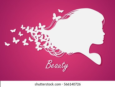 Silhouette head with hair and butterfly.Vector illustration of w