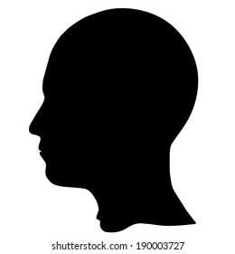 SIlhouette of a head isolated on white