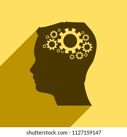 Silhouette of a head. Mental health relative design template. Gears group as a symbol of a brains. Web icon with long shadow