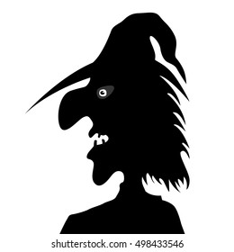 Silhouette of the head of the old witch isolated on a white background