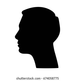 Silhouette of a head on white background. Man silhouette. Profile picture of man.