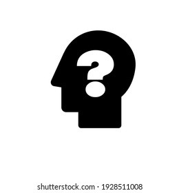 The silhouette of a head with a question mark. Problem. Question. a simple black and white icon. Vector illustration.