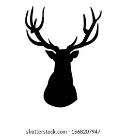 silhouette of head of reindeer