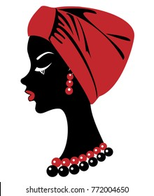 Silhouette of a head of a sweet lady. On the head of an African-American girl is a tied red scarf, turban. The woman is beautiful and stylish. Vector illustration.