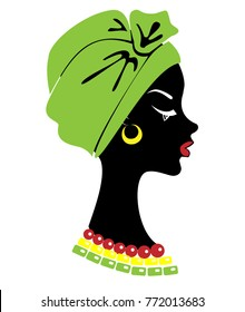 Silhouette of a head of a sweet lady. On the head of an African-American girl is a tied green shawl, a turban. On the neck beads. The woman is beautiful and stylish. Vector illustration.