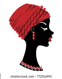 Silhouette of a head of a sweet lady. On the head of an African-American girl is a tied red scarf, turban. On the neck beads. The woman is beautiful and stylish. Vector illustration.