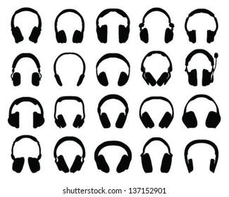 Silhouette of headphones 2-vector