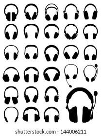 Silhouette of headphones 3-vector