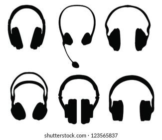 Silhouette of headphones-vector