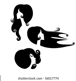 silhouette of heads females in profile
