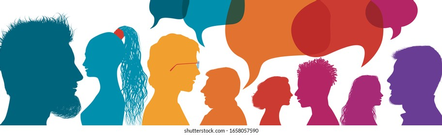Silhouette heads people in profile.Speech bubble. Crowd talking and inform.Communicate between a group of multiethnic and multicultural people who talk and share ideas.Diversity people