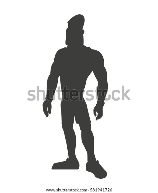 silhouette healthy man athletic muscular