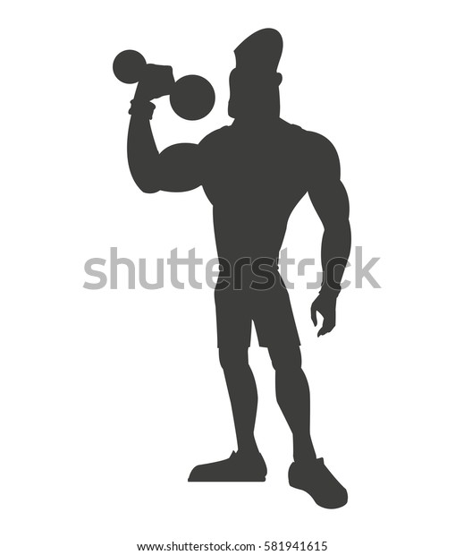 silhouette healthy man weight lifting