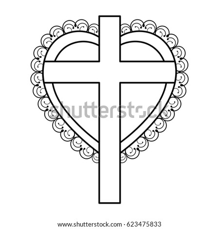 Silhouette Heart Decorative Frame Wooden Cross Stock Vector (Royalty ...