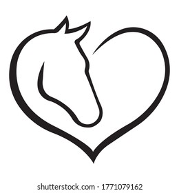 The silhouette of the heart in the form of a black horse. The concept of love for animals. Design suitable for logo, mascot, stencil, print on t-shirt or clothes. Isolated vector illustration