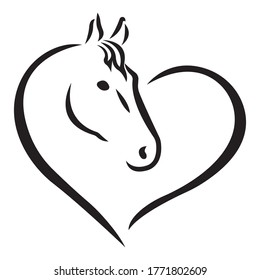 The silhouette of the heart in the form of a black horse. The concept of love for animals. Design suitable for logo, mascot, tattoo, stencil, print on t-shirt or clothing. Isolated vector illustration