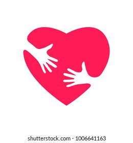 Silhouette of heart with hands, hugging heart, concept of love and care, happy valentine day