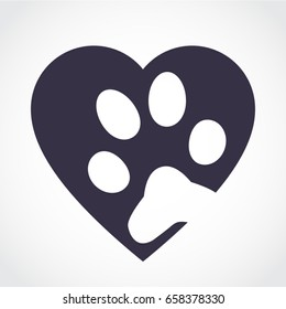 silhouette heart with pet paw footprint